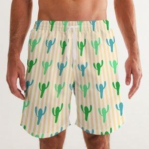 Men's Swim Trunks Cacti front close up