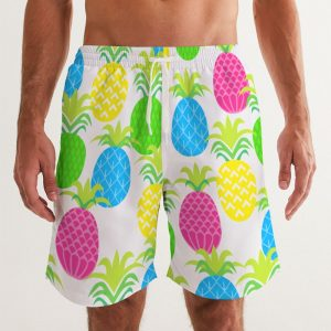 Men's Swim Trunks Colorful Pineapples front close up