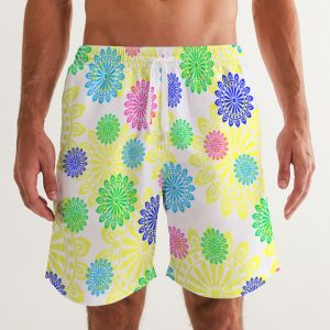 Men's Swim Trunks Colorful Rings front close up