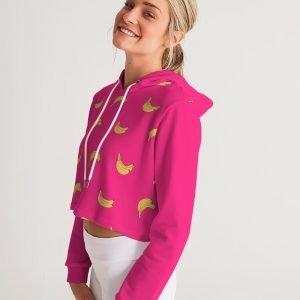 Women's Cropped Hoodie Bananas side model