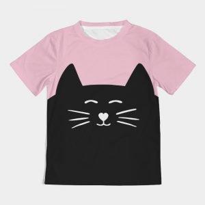 Pink Kids Tee Cat