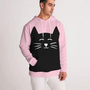 Pink Men's Hoodie Cat