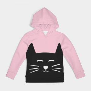 Pink Kids Hoodie Cat