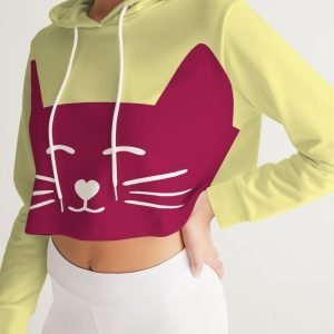 Yellow Women's Cropped Hoodie Cat front close up model
