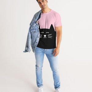 Pink Men's T-shirt Cat model