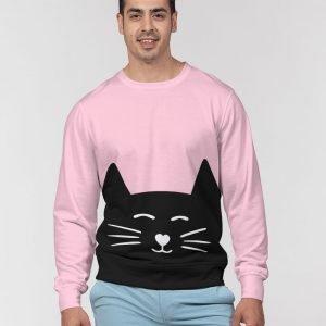 Pink Men's Pullover Sweater Cat