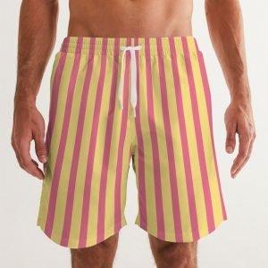 Men's Swim Trunks Yellow Stripes front close up