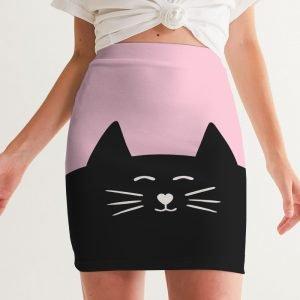 Pink Women's Mini Skirt Cat front close up